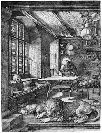 Engraving - St. Jerome in His Study (1514), an engraving by Northern Renaissance master Albrecht Dürer
