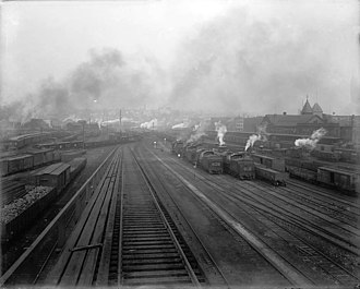 Scranton, Pennsylvania - Delaware, Lackawanna and Western Railroad yards in Scranton, ca.1895