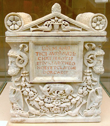 Cinerary urn for the freedman Tiberius Claudius Chryseros and two women, probably his wife and daughter DM Tiberius Claudius Chryseros.jpg