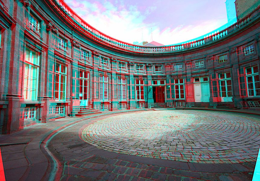 Hôtel de Chazerat, Clermont-Ferrand - Auvergne - France, stereoscopic anaglyphic view from the entry porch.