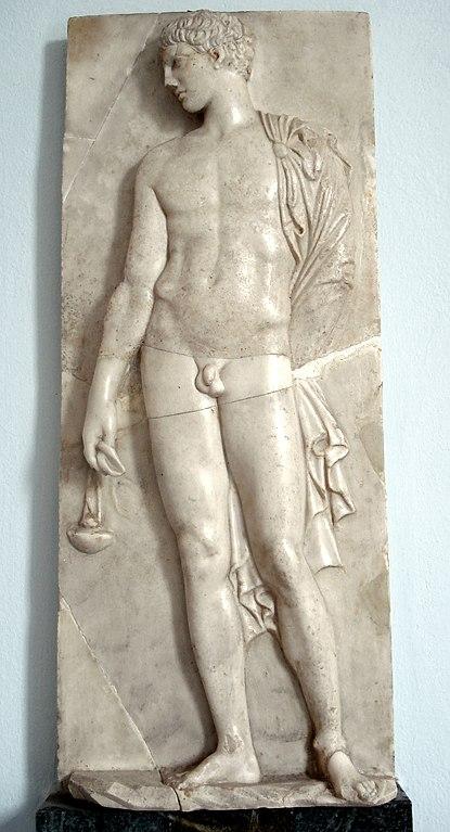Stele funéraire grec d'un athlete -500 au musée archéologique de Palerme - Photo de Giovanni Dall'Orto.