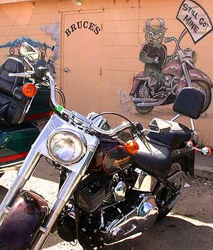 Severance, Colorado - Motorcycle outside Bruce's Bar. The mural arts depicts a bull asserting its avoidance of becoming Rocky Mountain oysters.