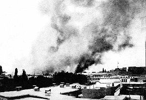 Great Syrian Revolt - Damascus in flames after High Commissioner Sarrail gave orders to shell the city