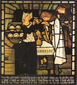 Tristram and Isoude stained glass panels - Image: Dante Gabriel Rossetti Sir Tristram and la Belle Ysoude stained glass