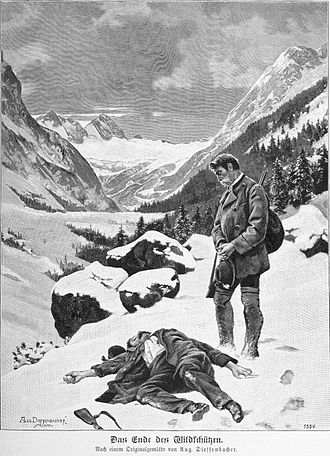 Poaching - End of the poacher, illustration based on a painting of August Dieffenbacher 1894.