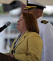 Defense.gov News Photo 100731-F-6655M-010 - Mrs. Becky Gates wife of Secretary of Defense Robert M. Gates gives the order to man the ship and bring her to life during the commissioning.jpg