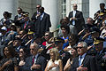 Defense Secretary Chuck Hagel, right, First Lady Michelle Obama, left, Vice President Joe Biden, and his wife, Dr. Jill Biden, render honors as the national anthem plays during a Memorial Day ceremony at Arling 140526-M-EV637-344.jpg