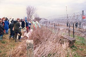 Anti-nuclear movement in the United Kingdom - Demonstrators outside the wire fences at Molesworth, early 1980s