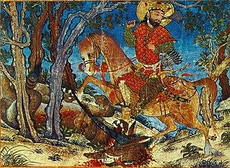 Great Mongol Shahnameh - Bahram Gur killing a wolf, Harvard University Art Museum