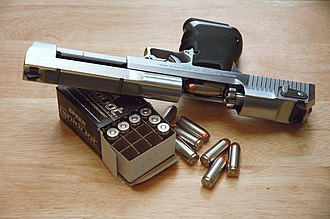 IMI Desert Eagle - Mark XIX Desert Eagle pistol with a box of Speer 325-grain .50 AE ammunition