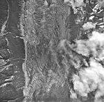 Desolation Glacier, valley glacier largely covered in rocks and trimline, September 16, 1966 (GLACIERS 5413).jpg