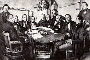 Board of directors - A meeting of a board of directors of the Leipzig–Dresden Railway Company in 1852