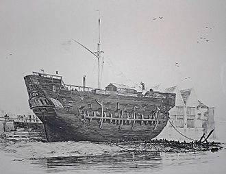 Prison - The beached convict ship HMS Discovery at Deptford served as a convict hulk between 1818 and 1834.