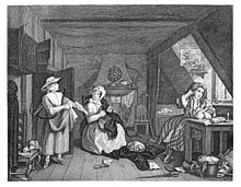 In a small scruffy garret, with a fireplace at the back of the room, a man sits at a desk underneath a roof window, quill in his hand, writing on a sheet of paper.  A woman sits in the centre of the room, repairing clothes.  Some of these clothes are on the floor, and a cat is sleeping on the pile they form.  Underneath the pile, partially concealed, is a copy of a journal.  The woman is looking at another woman who has entered the room to the left, who holds a list of items.  At her feet, a dog is stealing a piece of food from a plate on a chair.