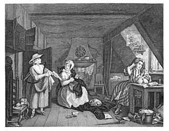 Grub Street - A copy of The Grub Street Journal lies at the writer's feet, in William Hogarth's The Distrest Poet.  Set in a garret, the print has been described as a study of a typical Grub Street writer.