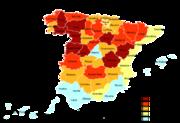 Distribución de la población de más de 65 años en España (2005 ...