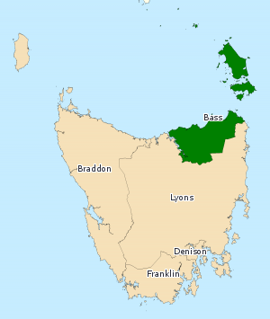 Division of Bass - Division of Denison in Tasmania, as of the 2016 federal election.