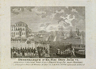 United Kingdom of Portugal, Brazil and the Algarves - King John disembarks in Lisbon in 1821, after 13 years in Brazil