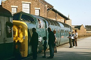 Doncaster railway station - A Deltic locomotive coupling to the Hull-King's Cross train, July 1975