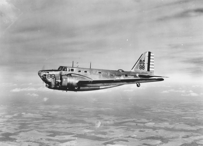 Douglas B-18A airplane in flight (00910460 121)