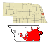 Douglas County Nebraska Incorporated and Unincorporated areas Omaha Highlighted.svg