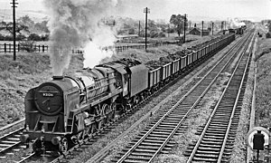 BR Standard Class 9F - Standard 9F 2-10-0 No. 92126. hauling a freight train on the Erewash Valley Line in 1957.