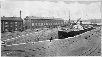 Puget Sound Naval Shipyard Historic District - Dry Dock No. 2, USAT Dix in dock, looking SE