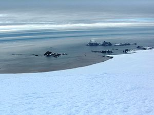 Dunbar Islands - Dunbar Islands (in the foreground) from Miziya Peak, Livingston Island, with Williams Point on the right and Zed Islands in the background