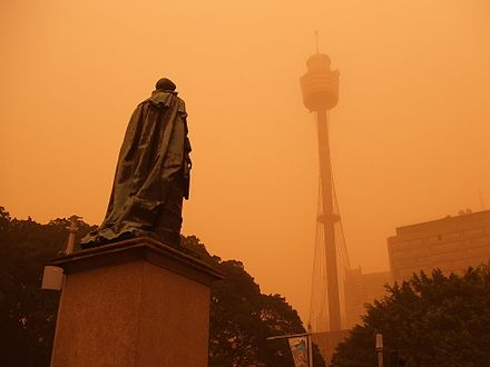 Dust storm over Sydney CBD with the Sydney Tower in background (September 2009). Dust Storm - Sydney (15220403491).jpg
