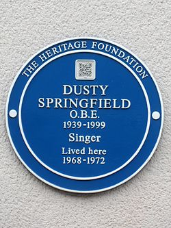 Dusty springfield obe 1939 1999 singer lived here 1968 1972