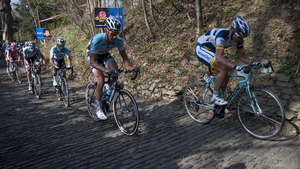 E3 Harelbeke - Stijn Devolder and Guillaume Van Keirsbulck climbing the Muur van Geraardsbergen in the 2012 race.