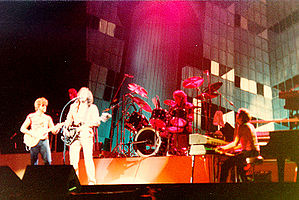 ELO performing live during their Time Tour in 1981.