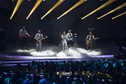 Dorians performing at the Eurovision Song Contest 2013 (from left to right: Arman Pahlevanyan, Gagik Khodavirdi, Gor Sujyan, Arman Jalalyan, and Edgar Sahakyan)