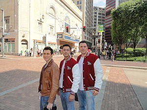 The Earth Angels - From left to right; Jordi, Christian and Joan opposite the Benedum Center in Pittsburgh, Pennsylvania.