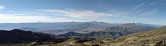Pichincha Province - Panoramic view from  Wawa Pichincha: (from left) Ilaló, Antisana, Sincholagua, Quilindaña, Pasochoa, Cotopaxi, Rumiñawi, Atacazo, Corazón and Illinizas