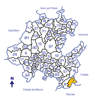Location in the Mexican state o Hidalgo