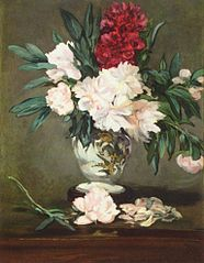 Stielleben, Vase mit Pfingstrosen