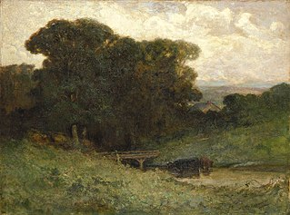 Untitled (forest scene with bridge, cows in stream in foreground)