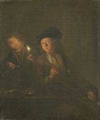A man with a pipe and a man filling his glass