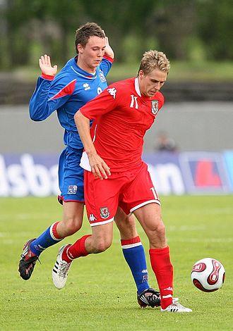 Eggert Jónsson - Jónsson (left) playing for Iceland in 2008