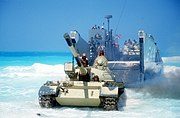 Egyptian T-55 tank disembarking LCU-1644 during Exercise Bright Star 1985 DF-ST-86-08080