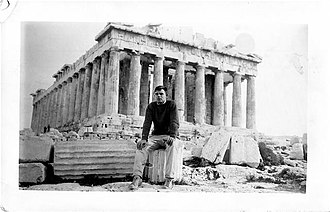 Robert Eisenman - Photo: Eisenman before the Parthenon, December, 1958