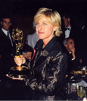 Ellen DeGeneres at the 1997 Emmy Awards (cropped)