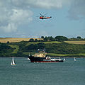 Emergency Tow Vessel Anglian Princess and Royal Navy Search and Rescue Helicopter -22 in Carrick Roads.jpg