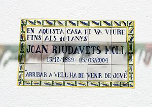 Joan Riudavets - Plaque in honor of Joan Riudavets in the house where he lived for his whole life