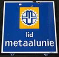 Enamel advertising sign, Lid Metaalunie.JPG