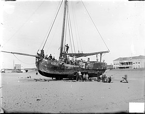 Katwijk aan Zee - Ship at the beach of Katwijk, ca. 1900. Picture by Jan Goedeljee.