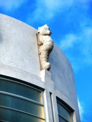 Midland Hotel, Morecambe - One of Eric Gill's two seahorses above the entrance to the hotel
