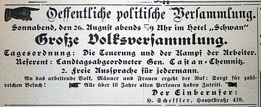 Ernst Castan in Schönheide Anzeige Schönheider Wochenblatt August 1910
