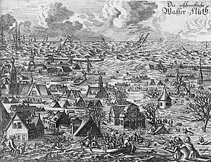 Flood - Contemporary picture of the flood that struck the North Sea coast of Germany and Denmark in October 1634.